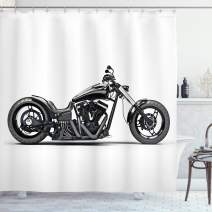 "Ambesonne Manly Shower Curtain, Custom Motorcycle Horsepower Adventurous Journey Freedom Ride Masculine Vehicle, Cloth Fabric Bathroom Decor Set with Hooks, 84"" Long Extra, Black White"