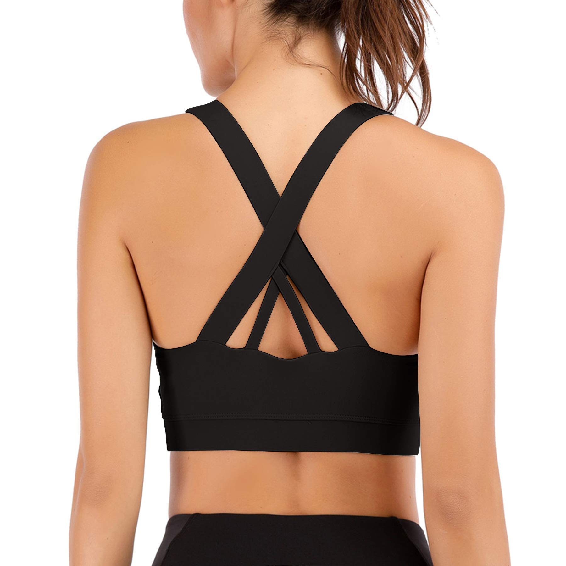Zando Sports Bras for Women Padded Strappy Sports Bra High Impact for Yoga Workout Fitness Gym with Removable Cups