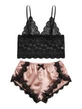 WDIRARA Women's Floral Lace Cami Top with Shorts Sleepwear Sexy Lingerie Pajama Set