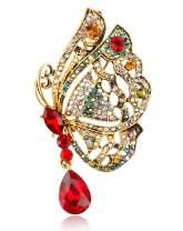 Gyn&Joy Womens Vintage Crystal Rhinestones Drop Winged Butterfly Brooch Pin