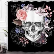"Baccessor Skulls Shower Curtain Sugar Roes Flowers Skull Skeleton Halloween All Saints Day Black and White Waterproof Bathroom Decor with Hooks, 60"" W x 72"" H (150CM x 180CM) - Beautiful Skull 2"