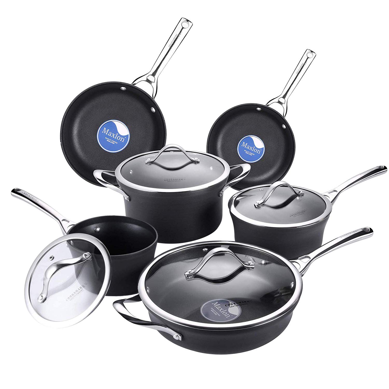 AMERICOOK Pots and Pans Set, 10 Piece Nonstick Ceramic Cookware Set, Durable Hard-Anodized Aluminum Pots and Pans with Glass Lids, Black