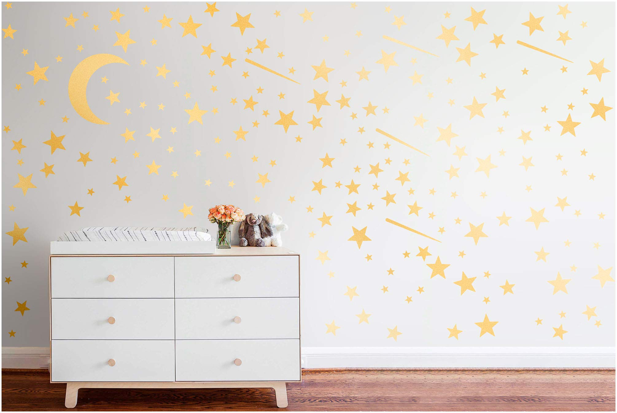PapaKit Twinkle Little Stars & Moon Wall Decal (Champagne Gold, 200 Assorted Stickers) Baby Nursery Child Kid Teen Girl Boy Room Home Decor | Creative Art Design Pattern | Safe Removable Adhesive