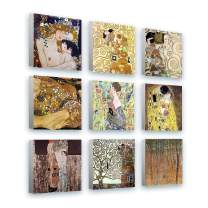 "Alonline Art - Mother Kiss Tree Life Fan by Gustav Klimt | framed stretched canvas (Synthetic) on a ready to hang frame - gallery wrapped | 12""x12"" - 30x30cm 