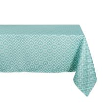 DII 100% Polyester, Spill Proof, Machine Washable, Tablecloth for Outdoor Use, 60x120 Round, Aqua Diamond, Seats 10 to 12 People