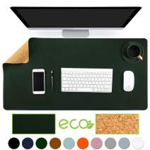 """Aothia Eco-Friendly Natural Cork & Leather Double-Sided Office Desk Mat Mouse Pad Smooth Surface Soft Easy Clean Waterproof PU Leather Desk Protector for Office/Home Gaming (Dark Green,31.5"""" x 15.7"""")"""