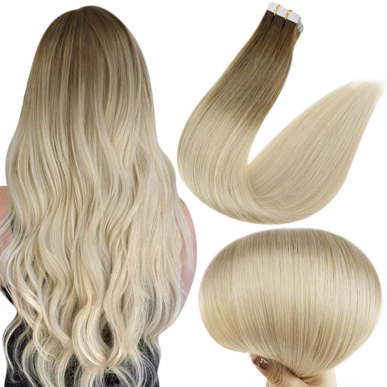 Full Shine 16 Inch Thick Ends 50 Grams Human Tape Hair Diy Dye Color 3 Dark Brown Fading To Color 8 Ash Brown And Color 613 Blonde In Tape Hair Extensions 20 Pieces