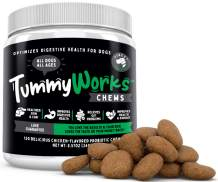TummyWorks Probiotic Chews for Dogs. Relieves Diarrhea, Upset Stomach, Gas, Constipation & Bad Breath. Itching, Allergies & Yeast Infections. with Digestive Enzymes & Prebiotics. Made in USA