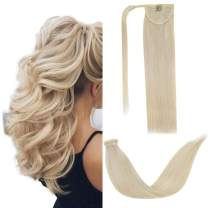 LaaVoo Drawstring Wrap Around Ponytail Human Hair Extensions in Blonde(#60) With One Clip in Comb Binding Pony Tail Brazilian Remy Straight Hair for Short Thin Hair Women 80g/pack 18inch