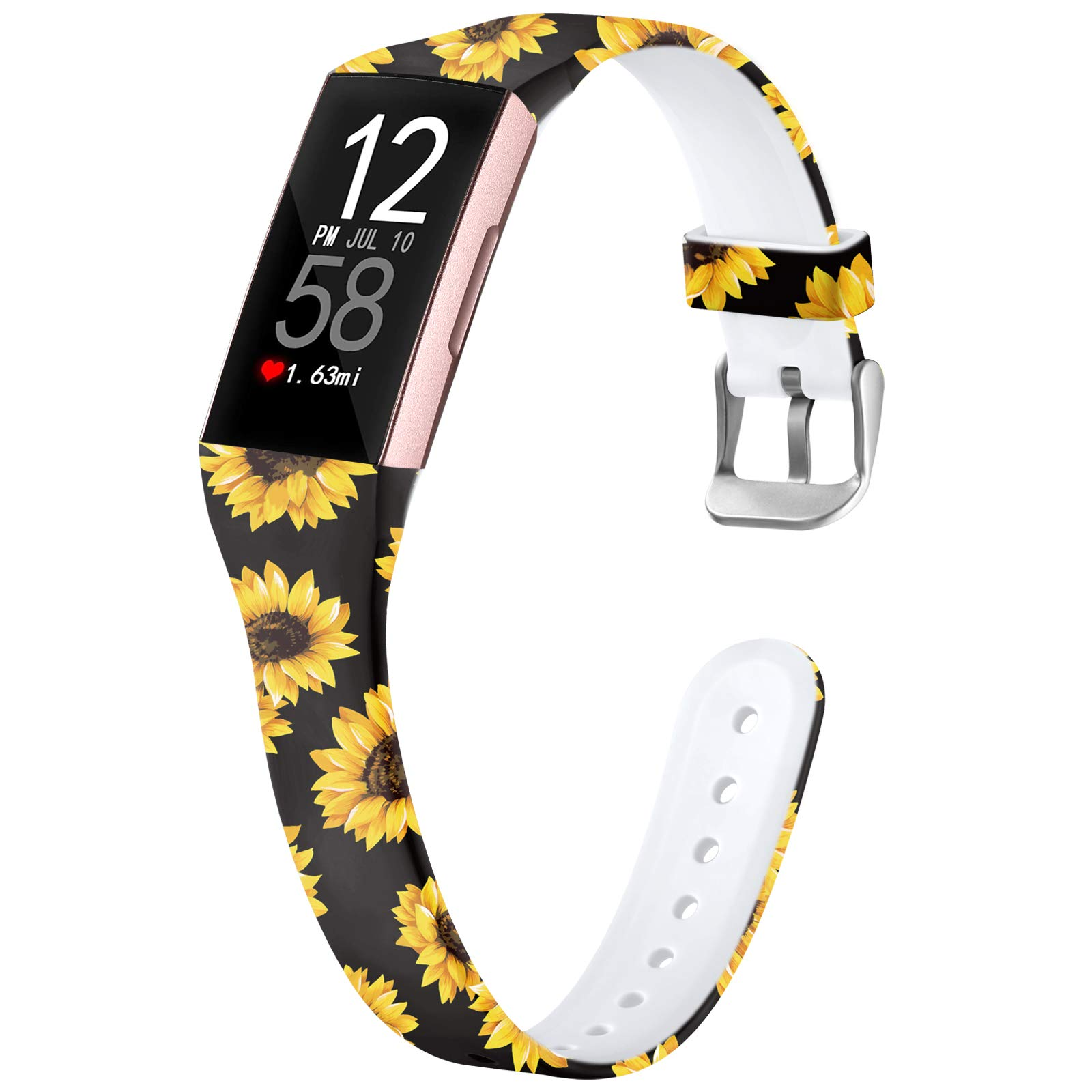 Nofeda Bands Compatible with Fitbit Charge 3/ Charge3 SE/Fitbit Charge 4 Bands for Women, Slim Soft Printed Fadeless Replacement Strap Band for Women Men, Small, Black Sunflower