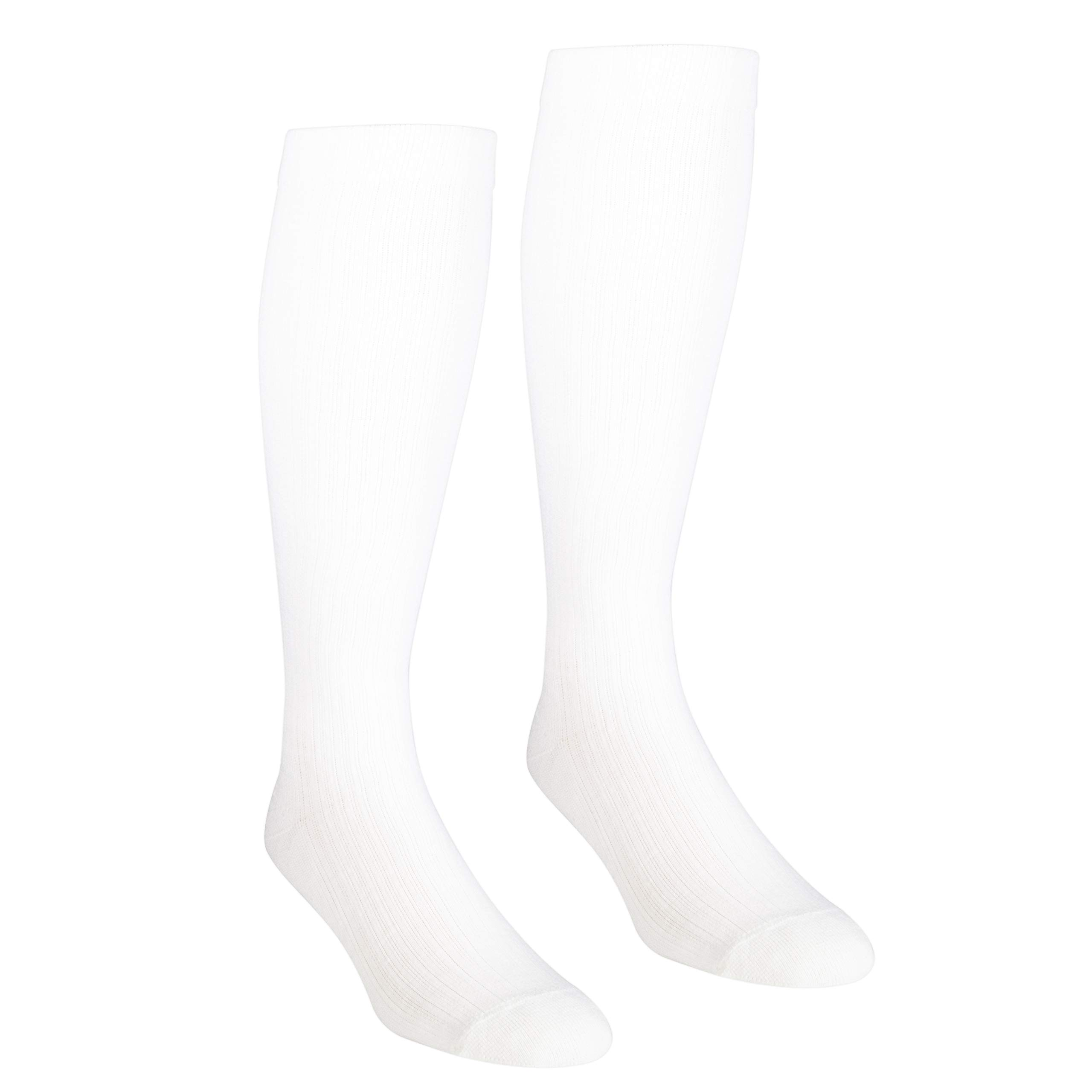 NuVein Women's Compression Socks Casual Tube Style Comfort Knit Active Support Cushion Foot, White, Large