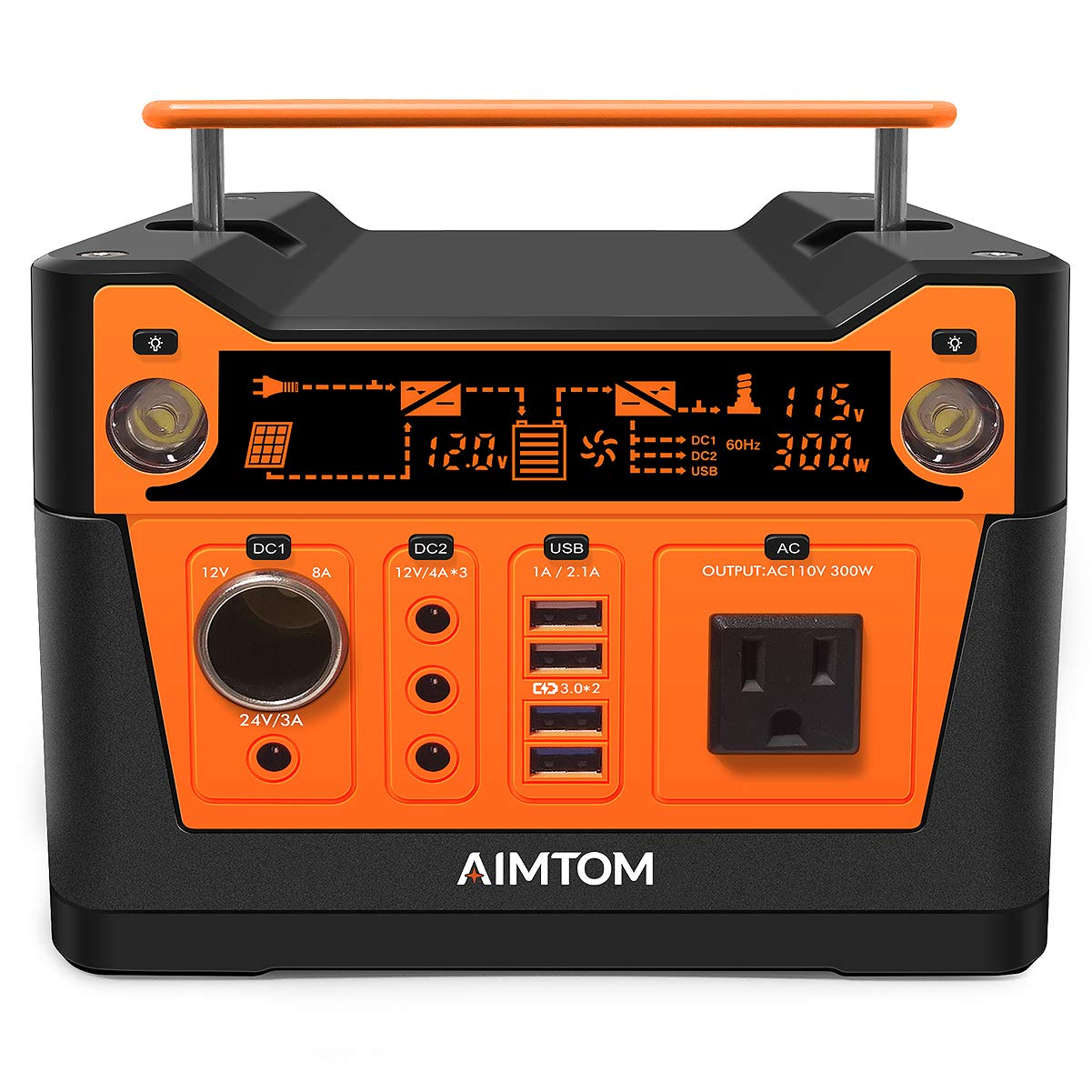 AIMTOM 300-Watt Portable Power Station - 280Wh Battery Powered Generator Alternative with 12V, 24V, AC and USB Outputs - Solar Rechargeable Lithium Backup Power - for Camping Outdoors RV Emergency