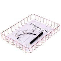 """Simmer Stone Rose Gold Desk Tray, Wire Metal Letter File Tray Organizer, Letter Size 12.5"""" x 9.4"""" x 1.7"""""""