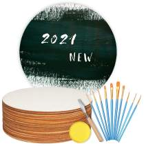 Unfinished Wood for Crafts, 10 Pieces 12 Inch Unfinished Wood Circles with 10 Pieces Paint Brushes, Palette Knife and Sponge, Round Wood Discs for Crafts, Painting, Door Hanger,Door Design Decorations