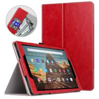 Dadanism All-New Amazon Fire HD 10 Tablet Case (9th Generation - 2019 Release) / (7th Generation - 2017 Release), Folio Cover Slim Stand with Card Slot for 10.1 Inch Cover - Red