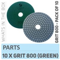 Stadea PPW159D Diamond Polishing Pads 4 Inch - For Concrete Terrazzo Marble Granite Edge Countertop Floor Wet Polishing, Grit 800 - Pack of 10