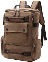 Canvas Backpack, Aidonger Vintage Canvas School Backpack Hiking Travel Rucksack Fits 15'' Laptop (Coffee)
