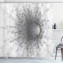 """Ambesonne Outer Space Shower Curtain, Turning Tunnel Inside Endless Hole Magnetic Field Deep in The Space Digital Artwork, Cloth Fabric Bathroom Decor Set with Hooks, 70"""" Long, White Grey"""