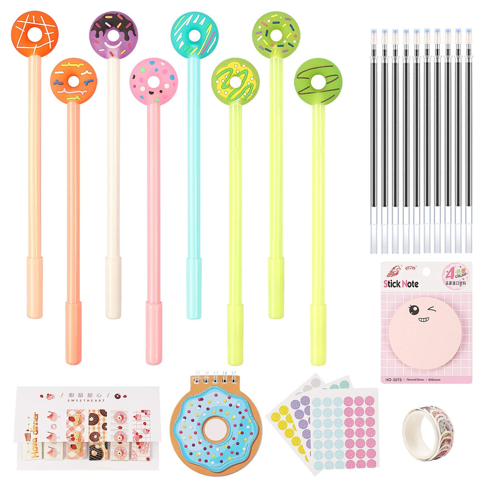 25 Pieces Gel Ink Pens Set,Include 8 Donut Gel Pens,10 Refills,5 Sticky Notes and Cute Notepad for Student Children Home School Office Stationery Supplies Birthday Gifts