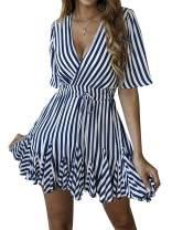 SHIBEVER Summer Sexy Mini Wrap Dresses for Women V Neck Beach Casual Striped Polka Dot Ruffle Hem Pleated Boho Sun Dress