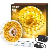 Dimmable LED Strip Lights, MINGER 3000K Warm White 16.4ft Flexible LED Light Strip for Room Under Cabinet Christmas Lighting, 300 LEDs Tape Light with ETL Listed Power Supply