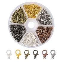 Beadthoven 1Box/120pcs Zinc Alloy Jewelry Lobster Claw Clasps Parrot Clasps Fastener Hook Open Jump Rings for DIY Jewelry Makings Finding Handmade Accessories Supplies