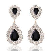 Miraculous Garden Crystal Rhinestone Teardrop Drop Dangle Earrings Jewelry Set for Women Girls,Women's Bridal Wedding Party Bridesmaid Prom Jewelry Gift.