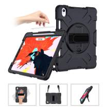 SUPFIVES iPad Pro 11 Case with Strap and Pencil Holder [Support Apple Pencil Charging/Pairing]+Hand Strap+Shoulder Strap+Stand Full-Body Heavy Duty Rugged Shockproof Case for iPad Pro 11'' 2018-Black