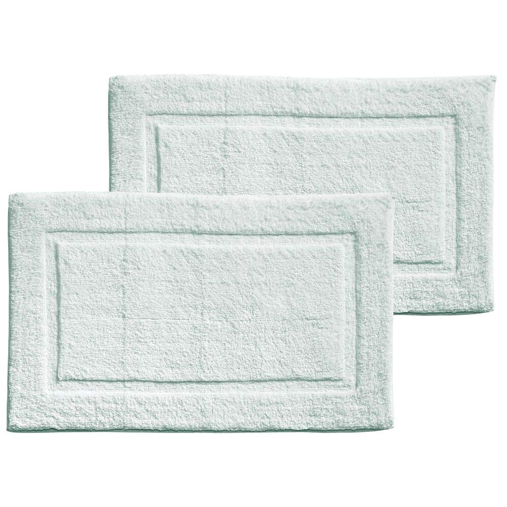 mDesign Soft 100% Cotton Luxury Hotel-Style Rectangular Spa Mat Rug, Plush Water Absorbent, Decorative Border for Bathroom Vanity, Bathtub/Shower - Machine Washable - 2 Pack - Water Blue