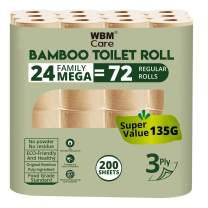 WBM LLC 3 Ply Bamboo Toilet Paper, 24 Mega Rolls = 72 Regular Rolls, 200 Sheets/Each, 24 Count