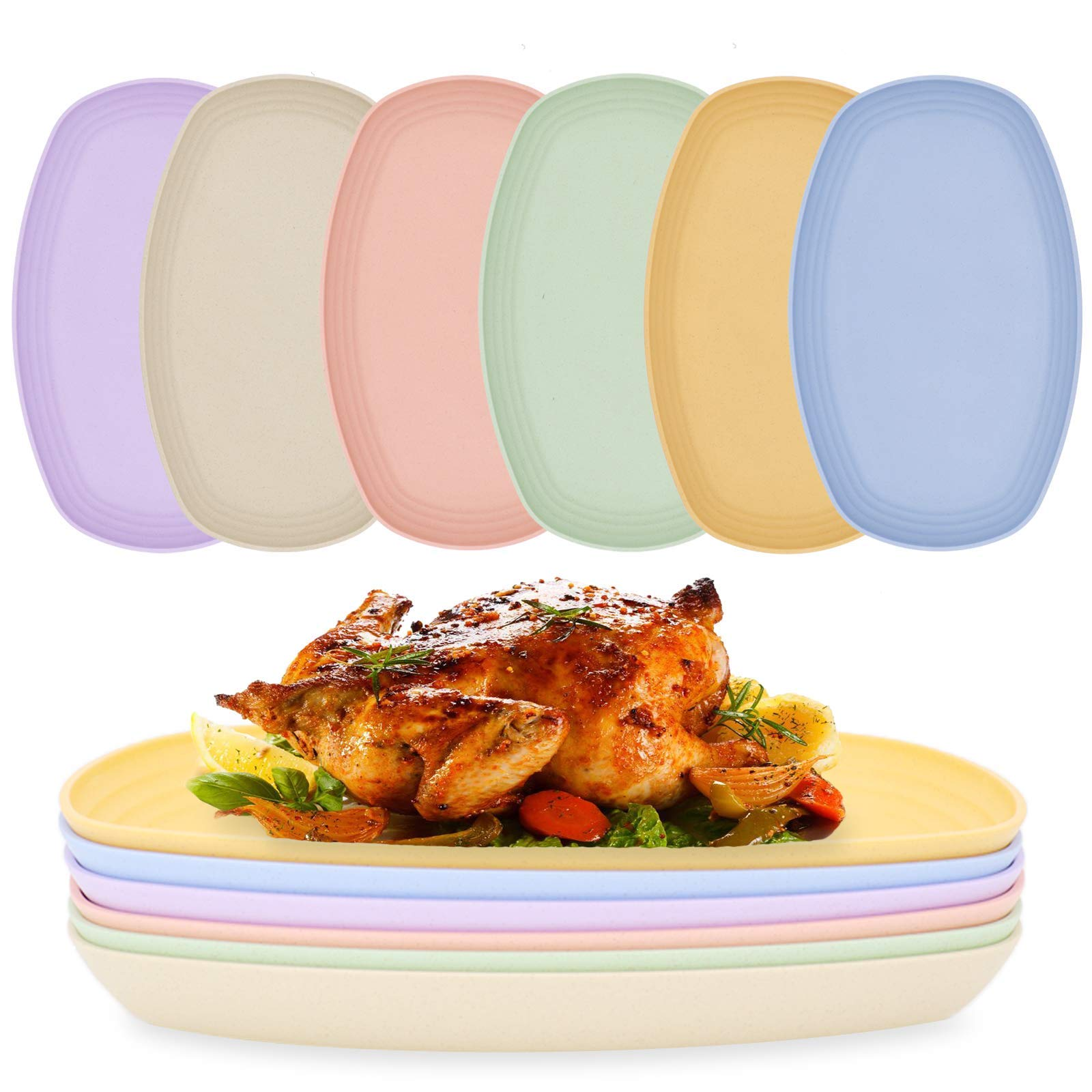 """Set of 6 Unbreakable Wheat Straw Dinner Plates, 11.5"""" Dishwasher & Microwave Safe Lunch Dishes,Reusable Eco-friendly BPA Free Lightweight Easy Clean Serving Plates Healthy for Kids Toddler & Adult"""