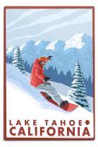 Lantern Press Lake Tahoe, California, Snowboarder Scene (12x18 Aluminum Wall Sign, Wall Decor Ready to Hang)