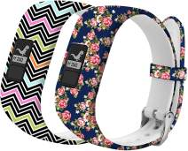 Watchbands Compatible for Garmin Vivofit Band Replacement Wristbands for Girls Women Kids with Metal Secure Clasp Watch Strap for Garmin Vivofit 3/Vivofit 3 JR/Vivofit JR 2 Bands,Wave & Flower Pattern