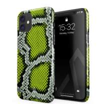 BURGA Phone Case Compatible with iPhone 11 - Neon Green Snake Skin Print Serpent Pattern Summer Exotic Tropical Cute Case for Women Thin Design Durable Hard Plastic Protective Case