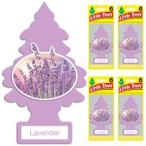 Little Trees Car Air Freshener | Hanging Tree Provides Long Lasting Scent for Auto or Home | Lavender, 6-Packs (4 Count)