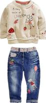 Little Girl's Long Sleeve Cartoon Pullover Shirt and Jeans Pants Outfit Set