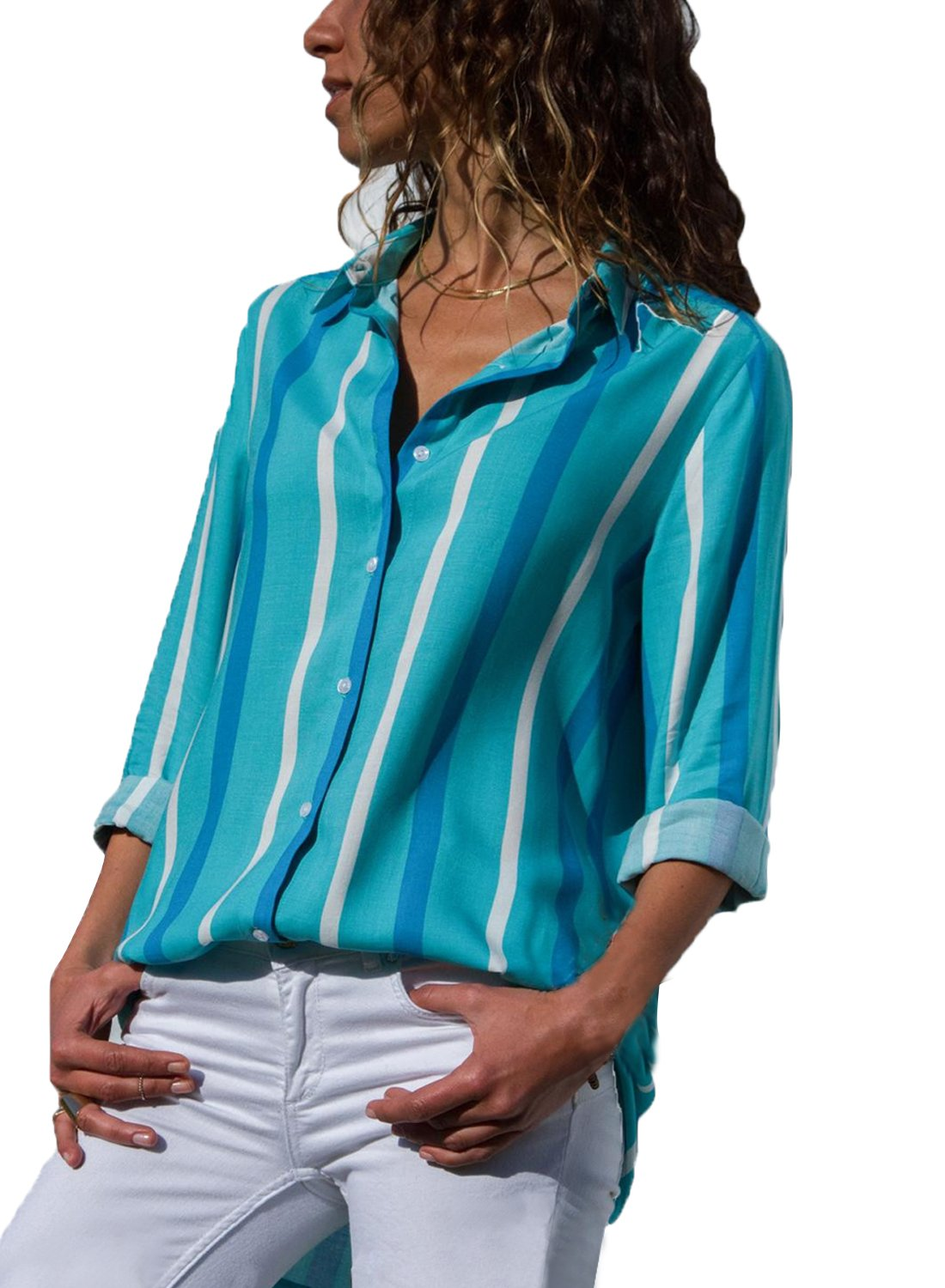 Astylish Women Casual Cuffed 3 4 Sleeve Button up V Neck Tunic Shirts Tops