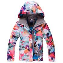 Ski Jacket Womens Windproof Waterproof Fleece Snow Jakcet and Pants Set Hooded