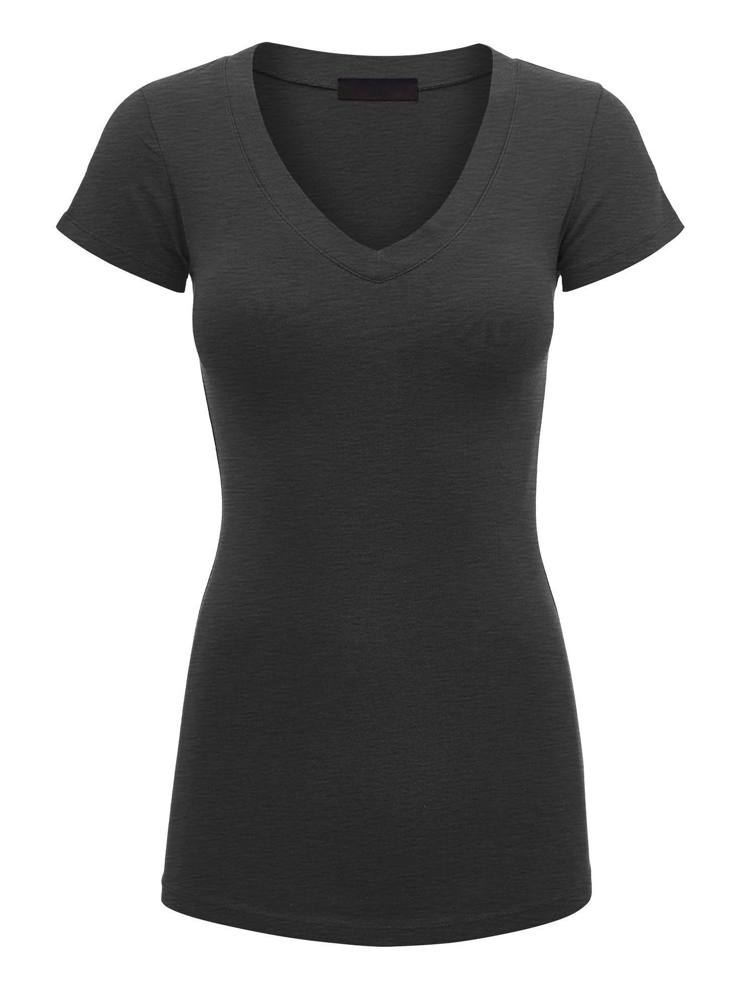 Lock and Love Women's Basic Slim Fitted Short Sleeve Casual V Neck Cotton T Shirt