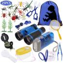Anpro 25pcs Kids Outdoor Explorer Kit, Children Adventure Toys Gift for Boys Including Kids Telescope, Compass, Flashlight, Suitable for Over 6 Years Old