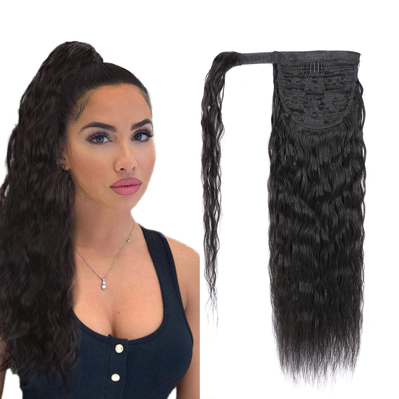 Magic Paste Wrap Around Ponytail Hair Extensions Human Hair Long Cown Wave 100% Real Remy Hair Pony Tails Hair Extensions For Women Natural Black (18 Inch, 120g)