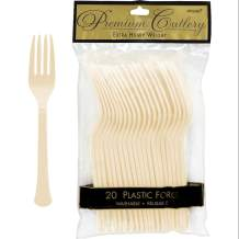 Premium Heavy Weight Plastic Forks | Vanilla Creme | Pack of 20 | Party Supply
