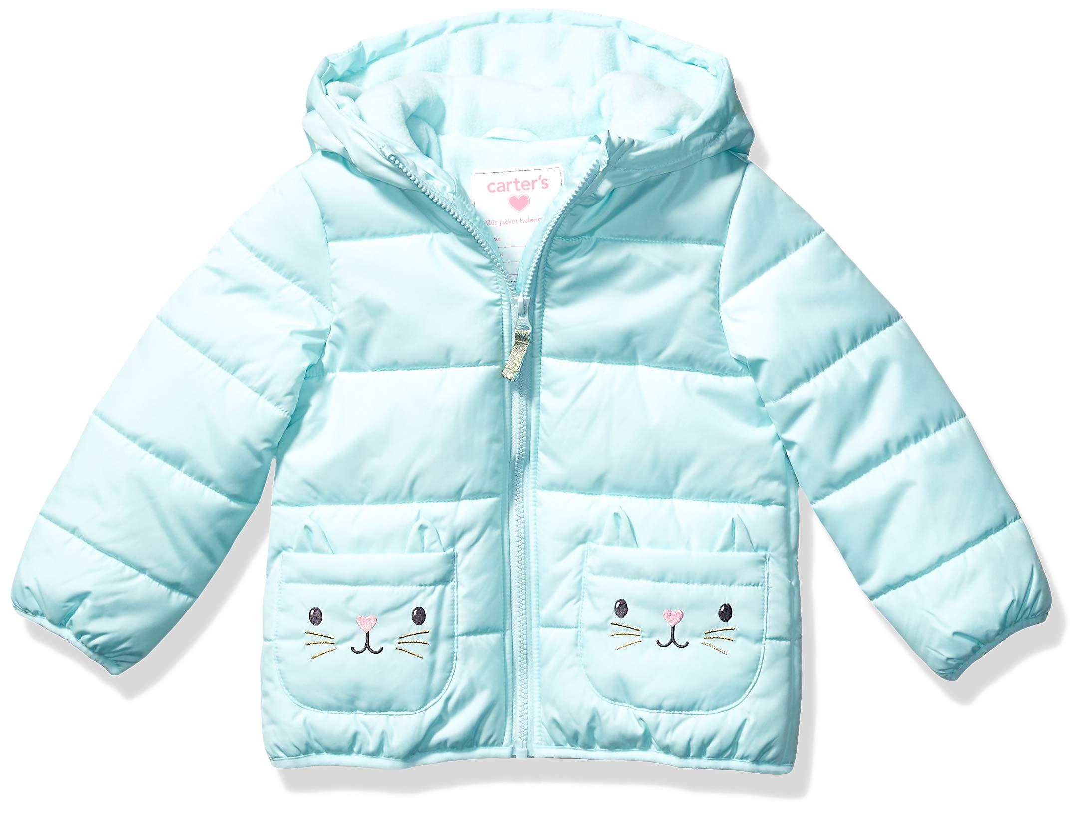Carter's Girls' Fleece Lined Critter Puffer Jacket Coat