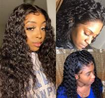 Perstar Lace Front Wigs Human Hair With Baby Hair Water Wave Lace Frontal Wig Wet and Wavy Human hair Wigs For Black Women Brazilian virgin Hair Pre Plucked Lace Front Wigs 24 Inch Natural Wave