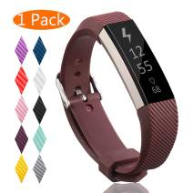 KingAcc Compatible Replacement Bands for Fitbit Alta HR, Fitbit Alta, Silicone Fitbit Alta HR Band Alta Band, Buckle Wristband Strap Women Men (1-Pack, Brown or Coffee, Small)