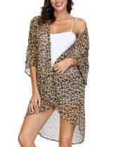 Kate Kasin Women's Chiffon Loose Kimono Cardigan Swimsuit Cover Ups Bikini Beachwear