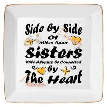 DOIOWN Ring Trinket Dish Jewelry Trays Ceramic Ring Decorative Trinket Dish Plate (Side by Side or Miles Apart Sisters Will Always be Connected by The Heart)