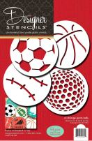 Designer Stencils Large Sports Ball Cookie Stencils (Basketball - Golf - Soccer - Baseball) , Beige/semi-transparent