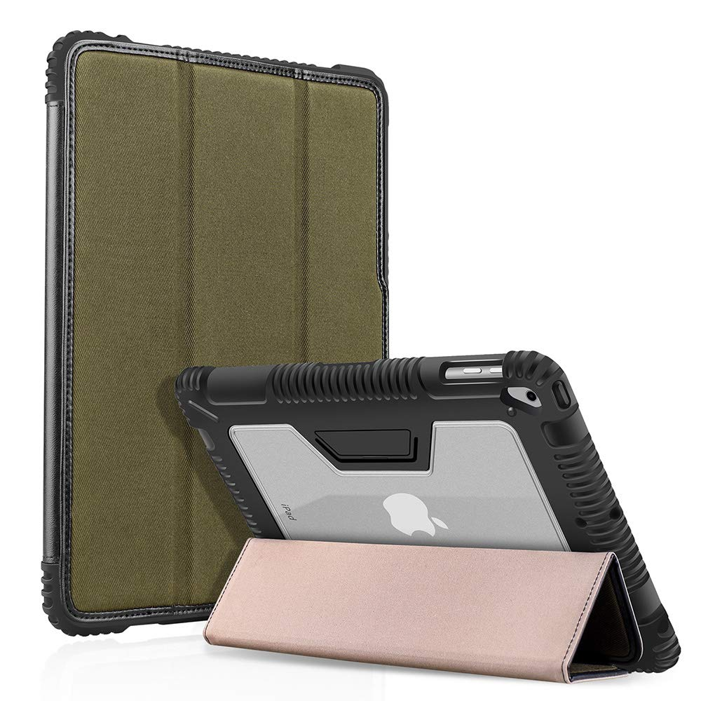 BIGPHILO [SPA Series] Heavy Duty Protective Case for 9.7 iPad 2018/2017 5th / 6th Gen & iPad Air 1st Gen, Rugged Clear Back Case + Trifold Fabric Front Cover - Built-in Pencil Holder - Army Green