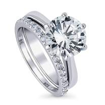 BERRICLE Rhodium Plated Sterling Silver Round Cubic Zirconia CZ Solitaire Engagement Wedding Ring Set 4.19 CTW